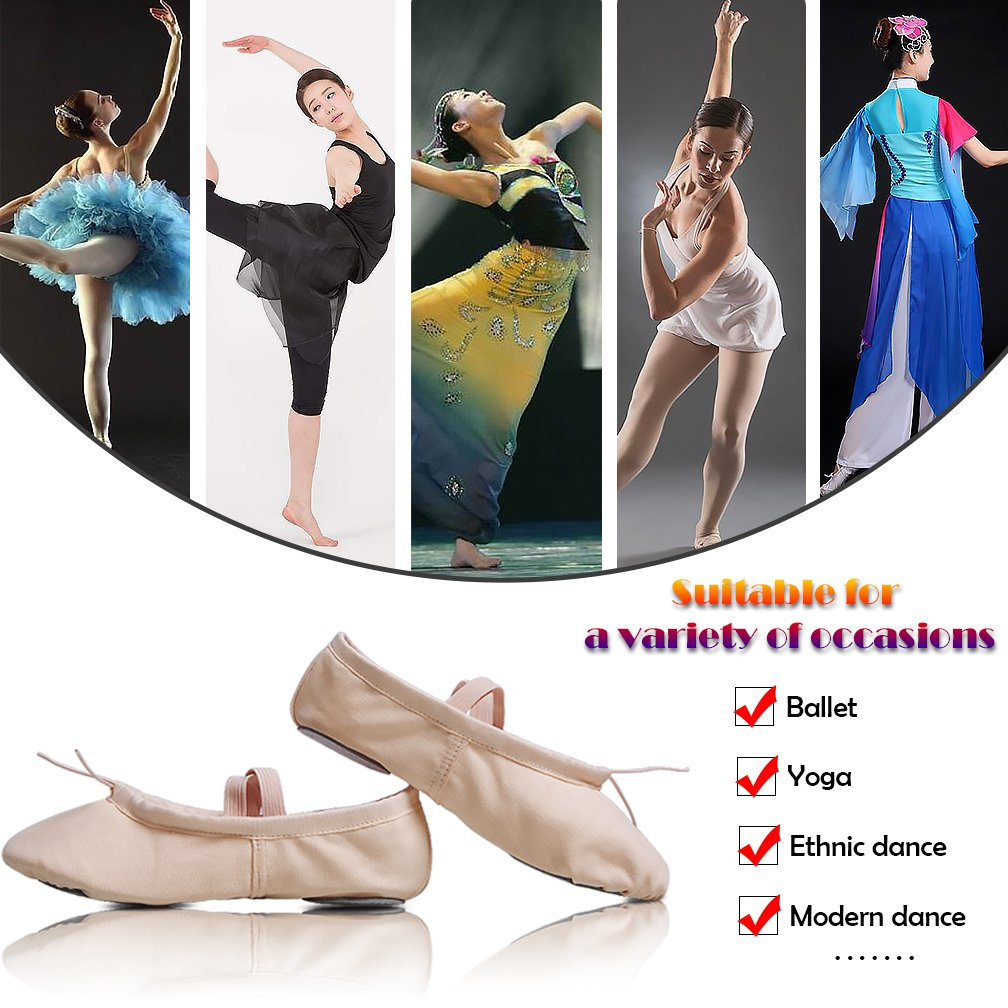 Ballet Flats for Women Girls Canvas Ballet Shoes Split Sole Ballet Slippers Yoga Dance Shoes