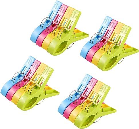 Rameng Lot de 24 Pinces /à Linge Plastique Couleur Grand Taille Clips pour Serviette de Plage
