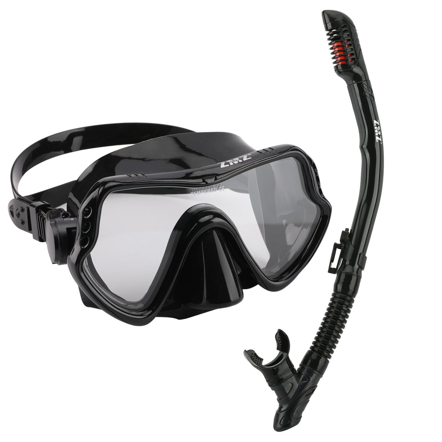 ZMZ DIVE Adult Snorkel Set, Tempered Glass Diving Mask and Dry Snorkel, Adjustable Anti-Leak Anti-Fog Design Panoramic Scuba Mask, with Food-Grade Silicone for Freediving Snorkeling (Black) by ZMZ DIVE