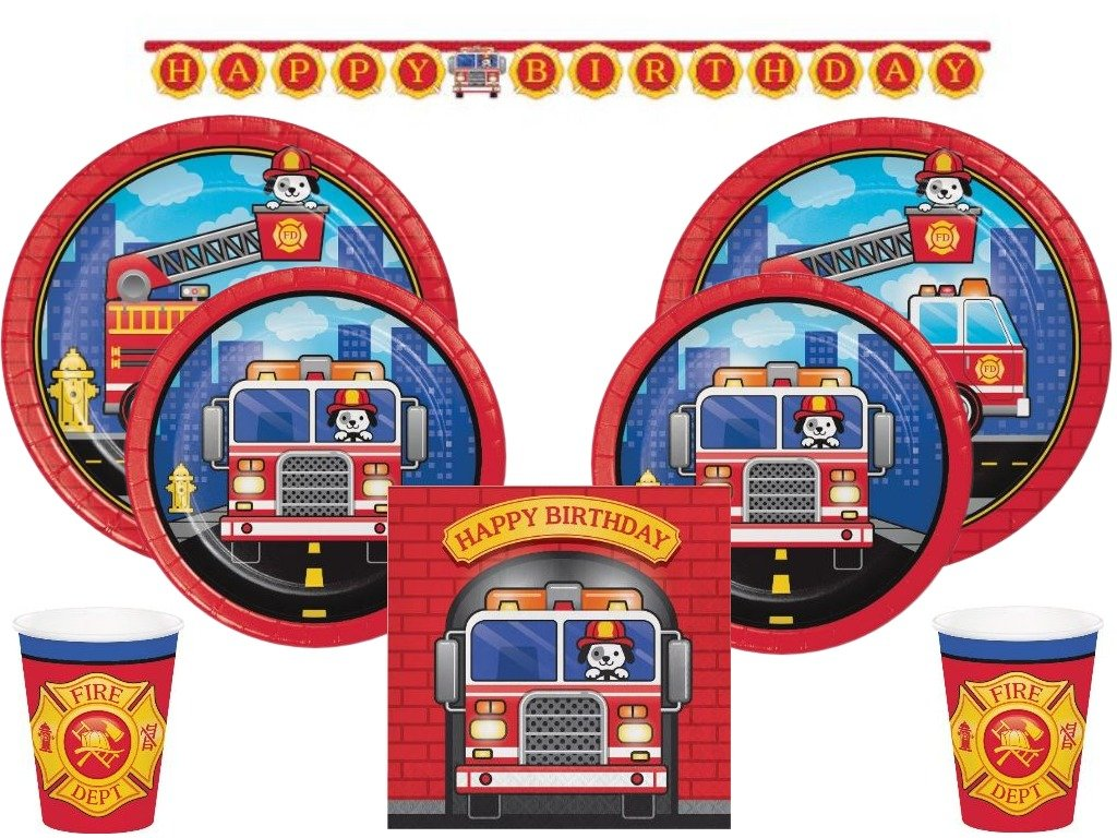 Creative Converting Inc. 105 Pcs Puppy Dog Fire Truck Ultimate Tableware Party Supplies Kit 24 Guests