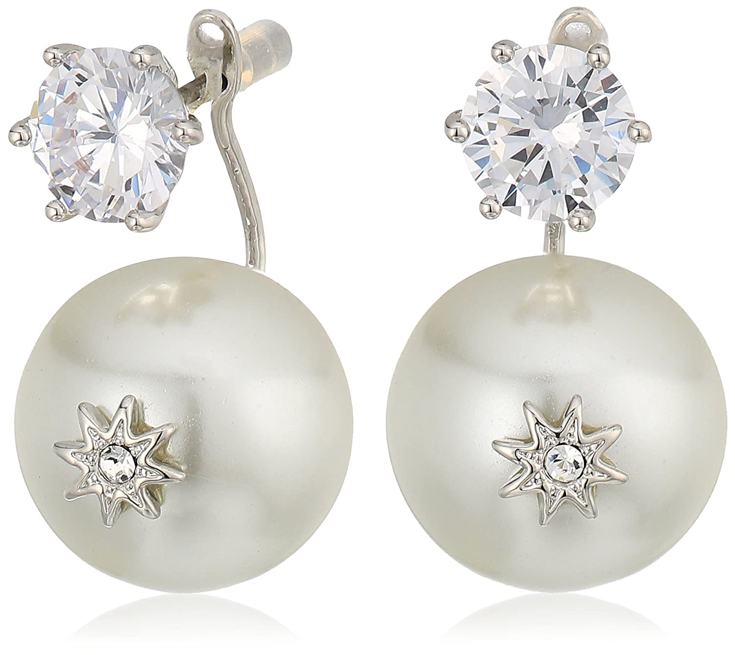 Betsey Johnson Womens Blue By Betsey Johnson Cubic Zirconia Stone Studs With Pearl Ear Jacket Attached At Back Earrings by Betsey+Johnson