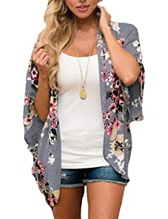 d4d2d7422f2 Women Floral Kimono Cardigan Chiffon Casual Loose Open Front Cover Up Tops  (26 Types)
