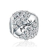 Geburtsstein-Perlenanhänger für Pandora-Armband, 925Sterling Silber, zum Geburtstag, 12Farben, Jan - Dez, durchbrochener Anhänger für Armband und Halskette FQ0004