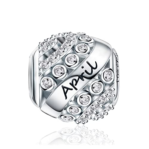 9cc4563f6 Amazon.com: FOREVER QUEEN April Birthstone Charms for Pandora Charms  Bracelet- 925 Sterling Silver Bead Openwork Charms, Happy Birthday Charms  for Bracelet ...