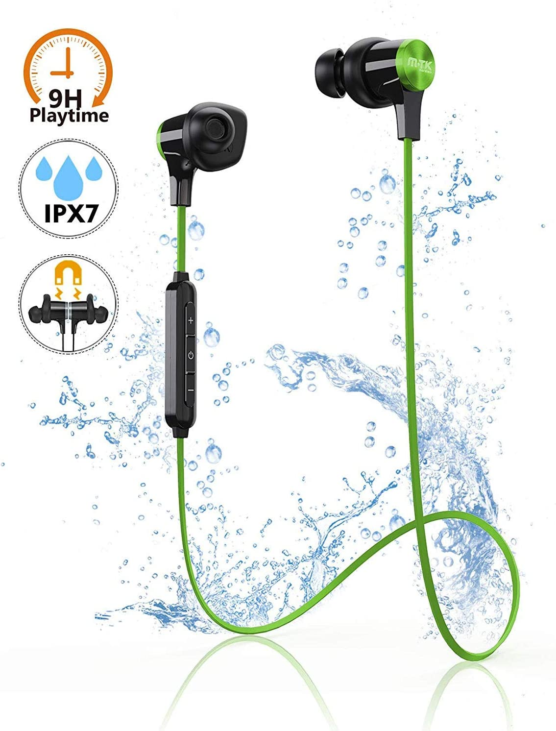 Auriculares Bluetooth, Auriculares inalámbricos con imán, M-T-K Bluetooth 5.0 Auriculares Deportivos con aptX HD Audio 8H Playtime IPX7 Impermeable CVC 8.0 para Correr