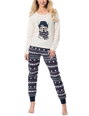 d943be1c0c Rossli SAL-PY 1083 Women s Pyjama Set Christmas Long Sleeves Stripes ...