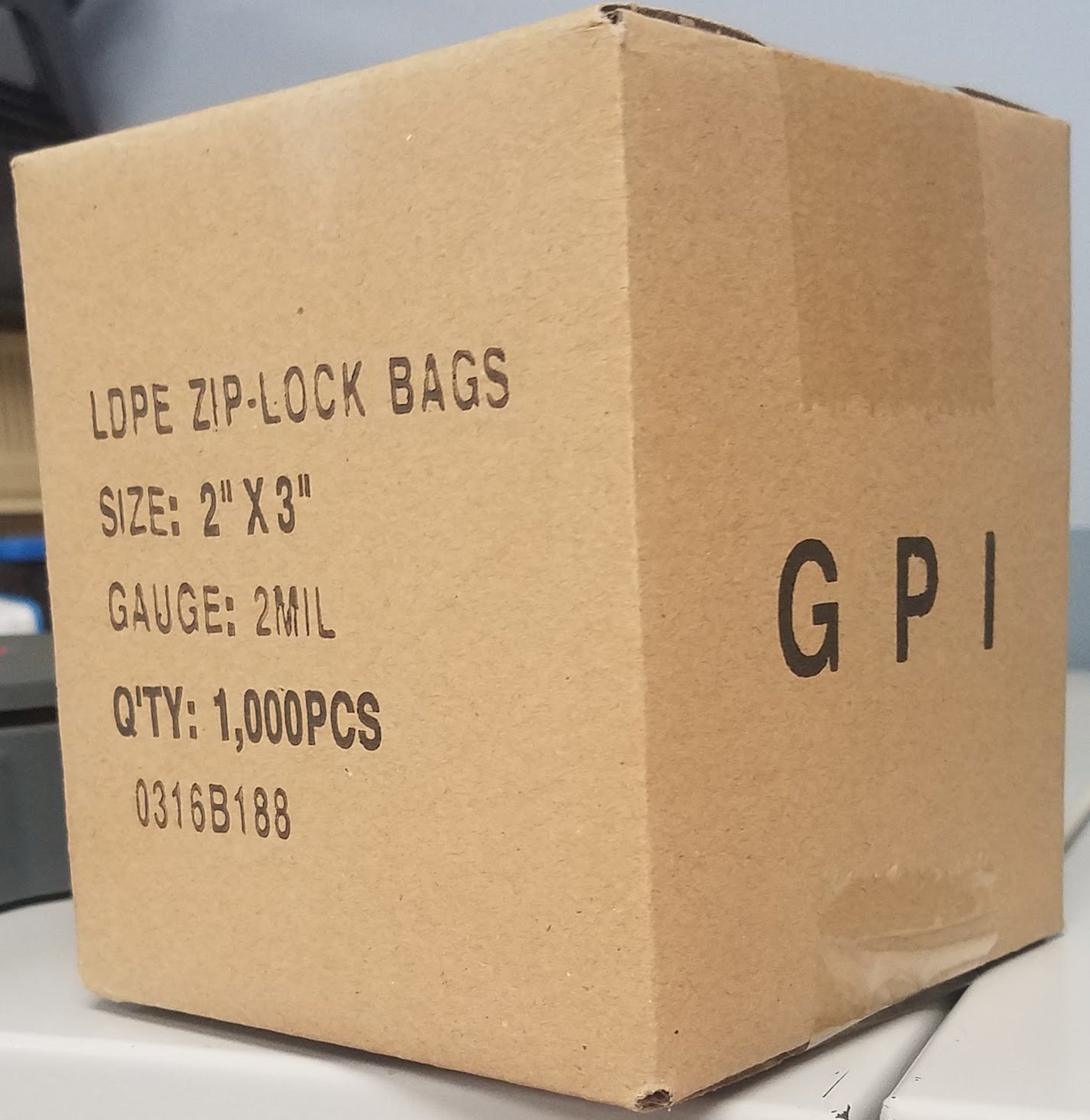 2x3, 2Mil Clear Reclosable Zip Lock Bags, case of 1000