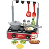 Melissa & Doug 19-Piece Deluxe Wooden Cooktop Set With Wooden Play Food, Durable Pot and Pan