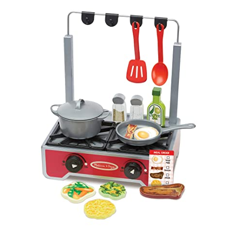 Melissa Doug 19 Piece Deluxe Wooden Cooktop Set With Wooden Play Food Durable Pot And Pan