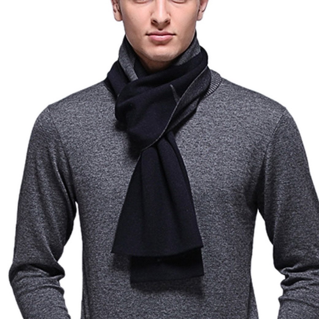 FEOYA Men's Stripe Long Pashmina Scarf Luxurious Business Soft Winter Wool Shawl Black