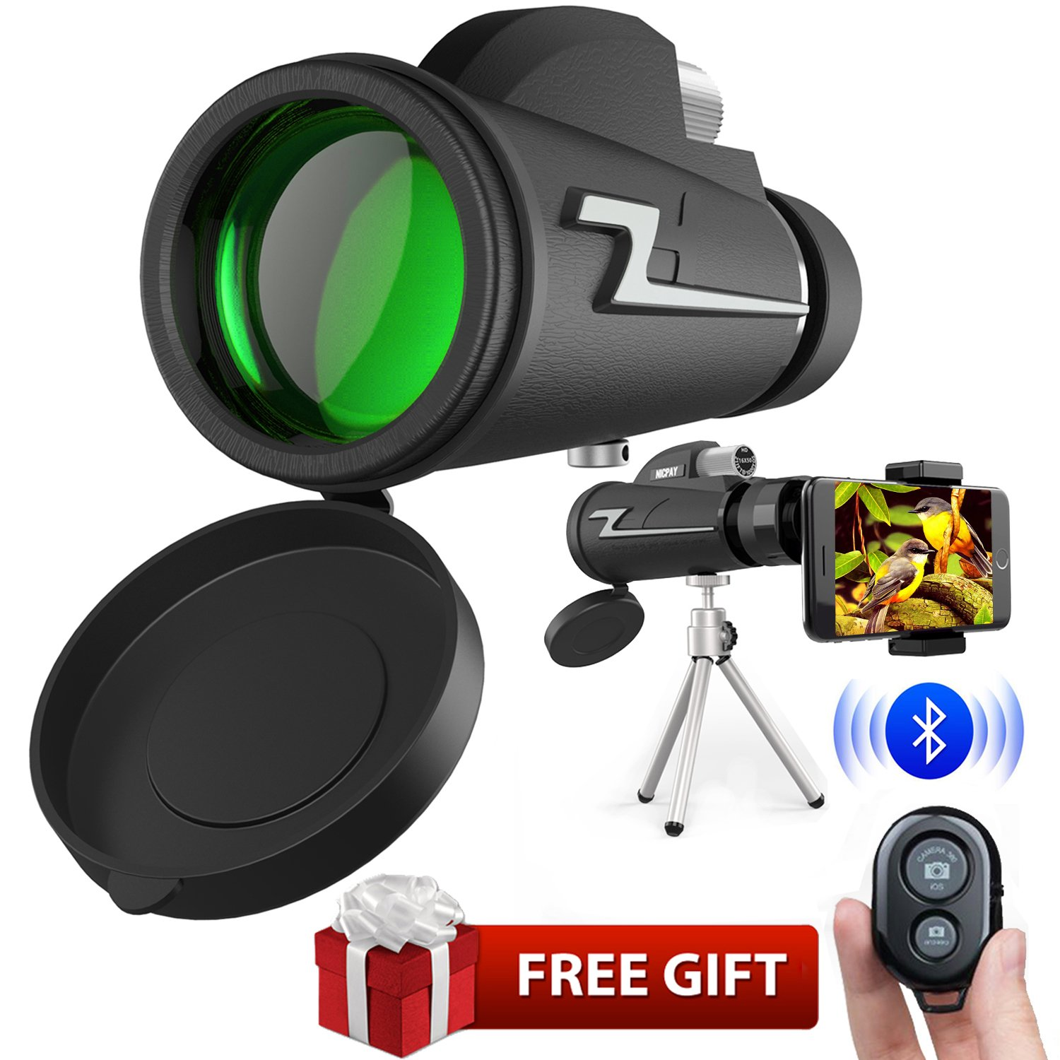 Monocular Telescope,16x50 High Powered Prism Scope Waterproof Monocular with Quick phone Mount Adapter and Tripod,Fogproof Optics FMC BAK4 Prisms, Low Night Vision Focus for Outdoor Like Bird Watching