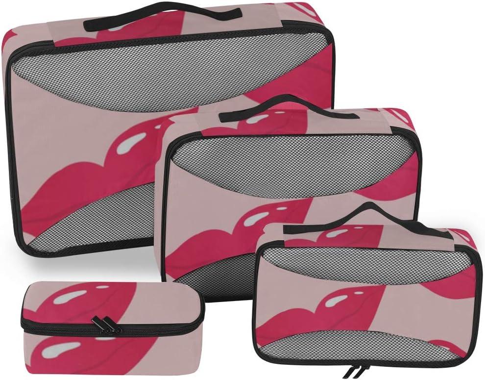 Organizadores de Cubos para Viajes de Arte Moda Labios Rojos Embalaje de Besos Organizador de Cubos Cubos de Embalaje de Colores Organizador de Maletas de 4 Piezas Bolsa de Almacenamiento de Equipaje