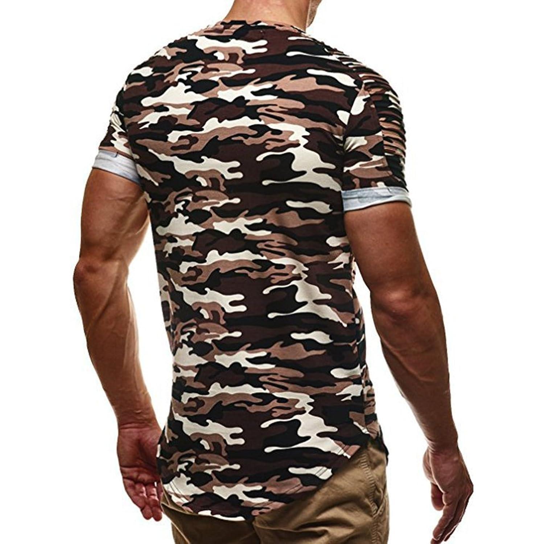 Juleya Moda Camisa Para Hombre - Manga Corta Cuello Redondo T-Shirts Camuflaje Básica Casual Blusa Camiseta Top Para Deportes Trabajo… Bphl4ALb