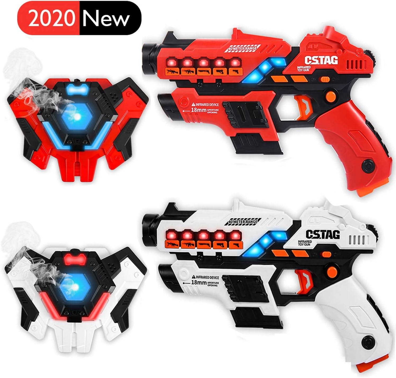Linksky Infrarrojos Laser Tag para niños , 2 Juegos de Juguetes con Pistolas Laser 5 Modos de Arma de Actividades grupales en Interiores y Exteriores Diversión