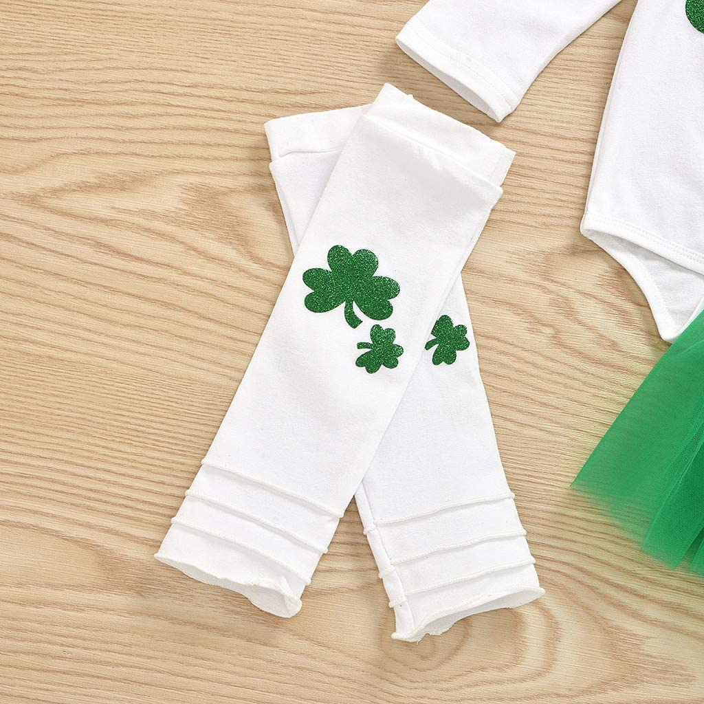 Mesh Tutu Skirt Toddler Baby Long Sleeve Clover Grass Jumpsuit Leg Cover Headband Four-Piece Suit St.Patricks Day Irish National Day for Age 0-18 Mouths Outfits