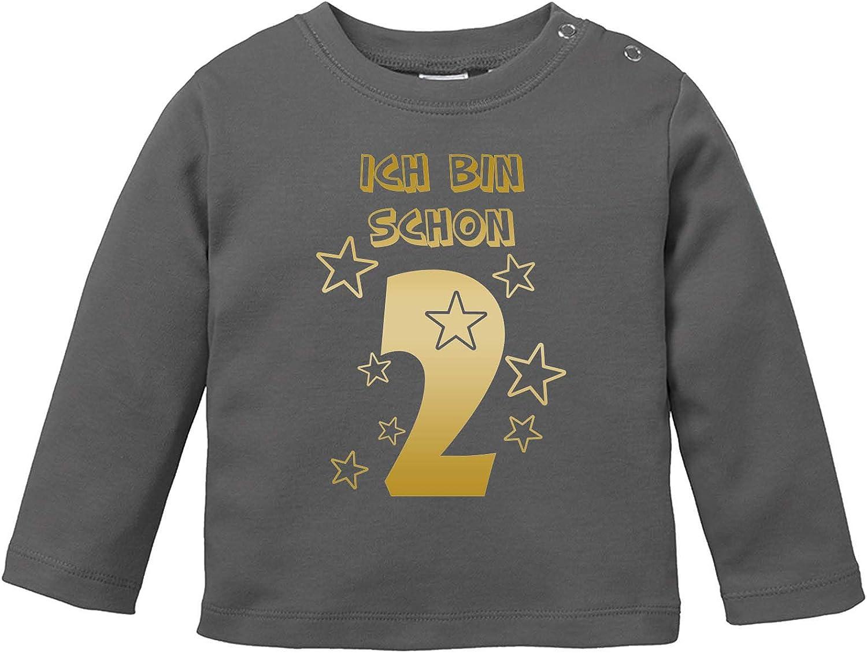 Langarm Basic Print-Shirt Baby Langarm Shirt Ich bin Schon 2 100/% Baumwolle Comedy Shirts Rundhals