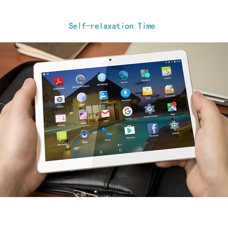 Tablet 10 Pulgadas BEISTA (WiFi,Quad-Core,Android 7.0 Lollipop,2GB RAM,32GB ROM,HD IPS 1280x800,Doble Cámara,Doble Sim,OTG,GPS)- Color Oro