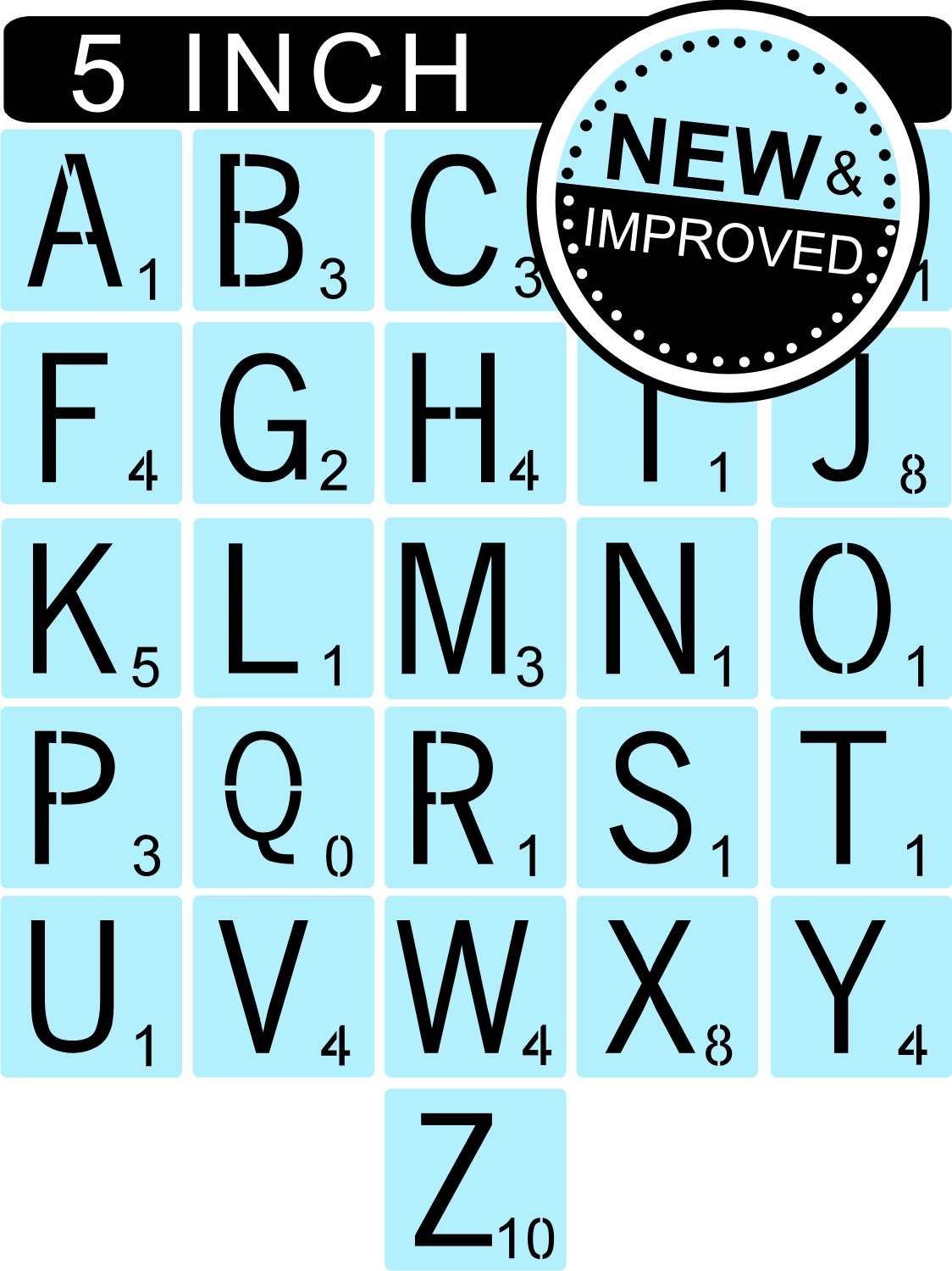 5 Inch Scrabble Style Letter Stencils for Painting Signs /& Tiles Reusable /& Thick