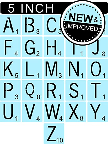 Scrabble Style Letter Stencils for Painting Signs & Tiles, 5 Inch, Reusable  & Thick