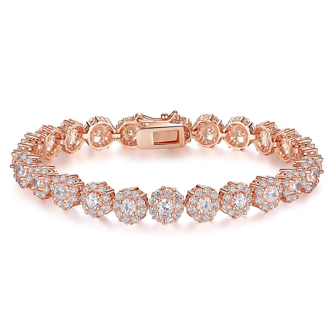 BAMOER Classic Rose Gold Plated Bracelet Sparkling White Cubic Zirconia Stones Women Girls Her 6.7 inches