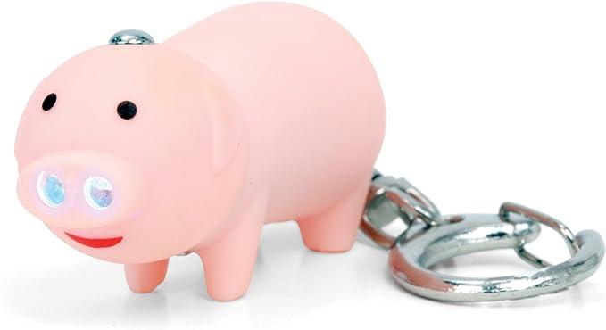Funny Pig Shape LED Key Chain with Sound Key Ring Mini Flashlight Torch Kids Toy