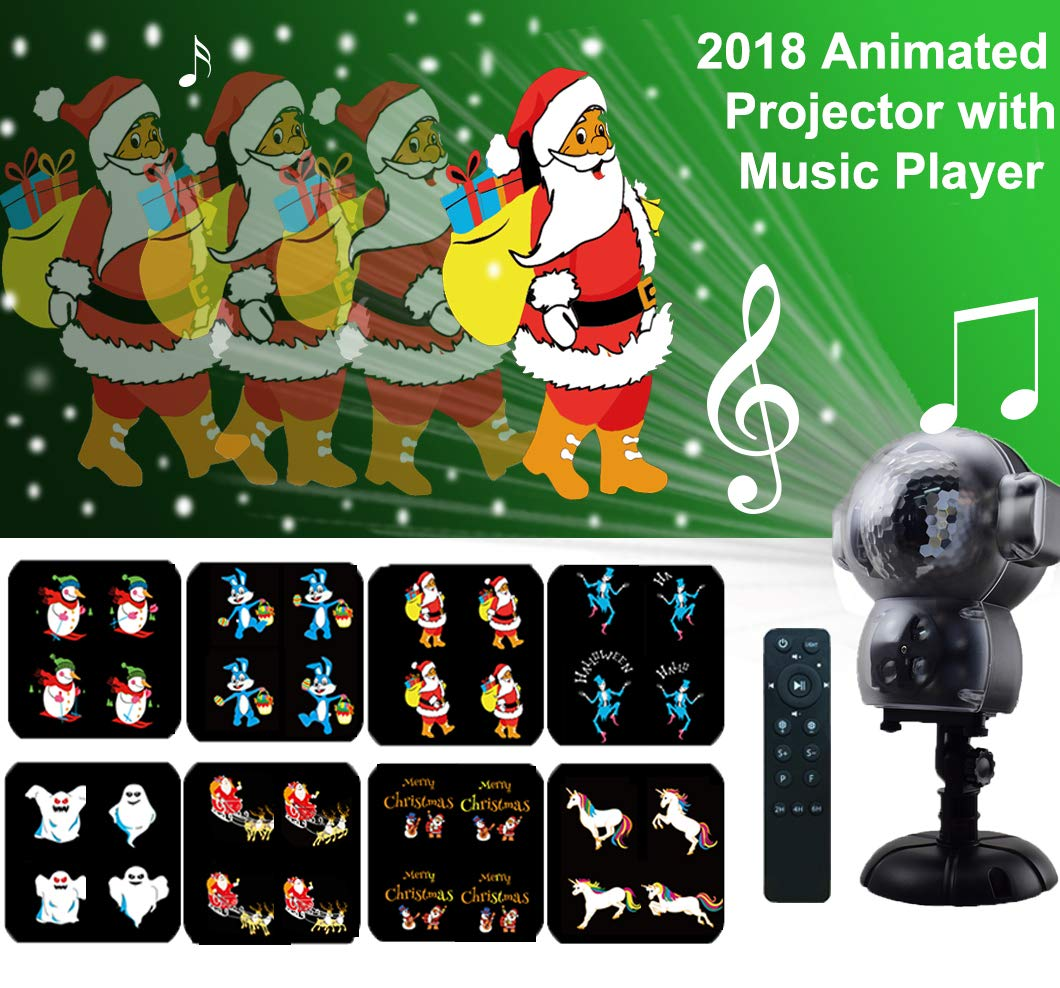 Anime Projector Lights Christmas Decoration Projection Lamp waterproof with Remote Control Timer and Music Player Snowfall Animated Light Projector for Halloween Wedding Xmas Holiday birthday Party Decorations(2018 New Design) MINPE
