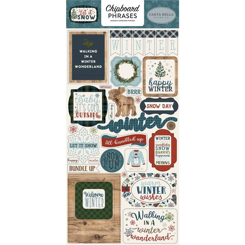 Carta Bella Paper Company Let It Snow 6x12 Phrases chipboard, red, Blue, Navy, Green, White Echo Park Paper Company CBIS92022