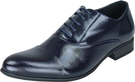 Evoga - Zapatos de hombre de clase azul oscuro brillante con pintura elegante para ceremonia