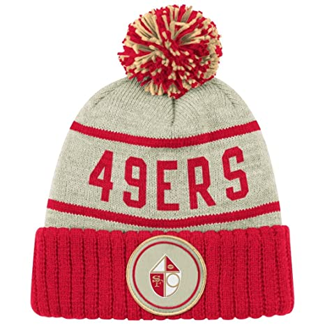 Image Unavailable. Image not available for. Color  San Francisco 49ers  Oatmeal Heathered Striped Cuff Pom Knit Beanie Hat   Cap f1da67f7a