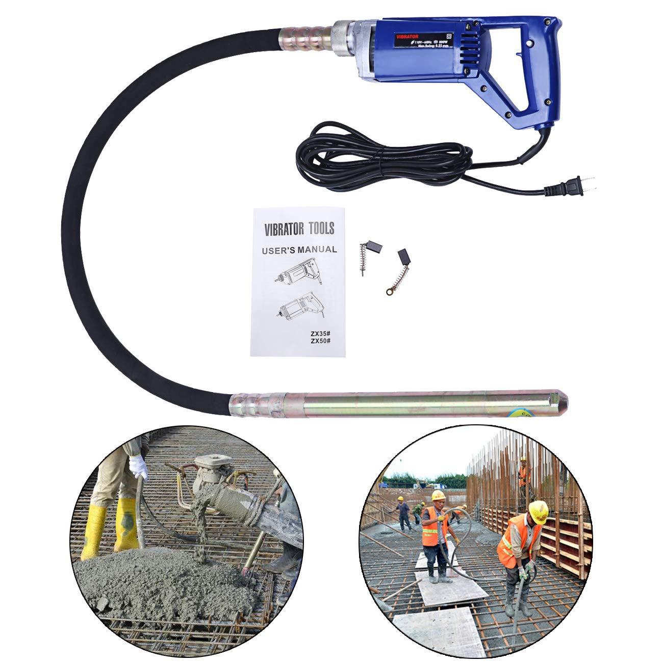 Bizoepro Portable 13000 RPM Concrete Vibrator 800W 3 4 HP Hand Operated Remove Air Bubbles handheld Construction Vibrator