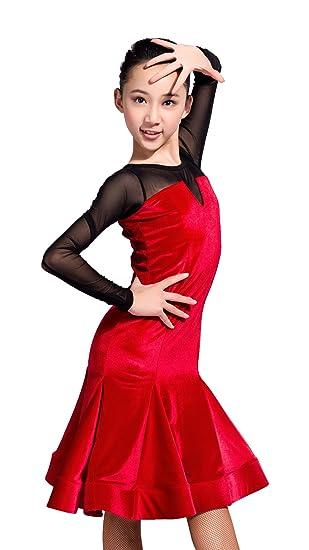 SCGGINTTANZ GD3026 Niña Profesional el Vestido de Costura de diseño de Terciopelo y Lana Latino Latin