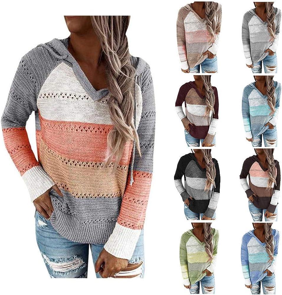 melupa Women's Lightweight Color Block Hooded Sweaters Long Sleeve Hoodies Knitted Pullover Sweatshirts