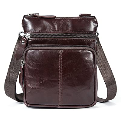 Fmeida Leather Crossbody Bag Small Satchel Messenger Bag Vintage Shoulder Bag