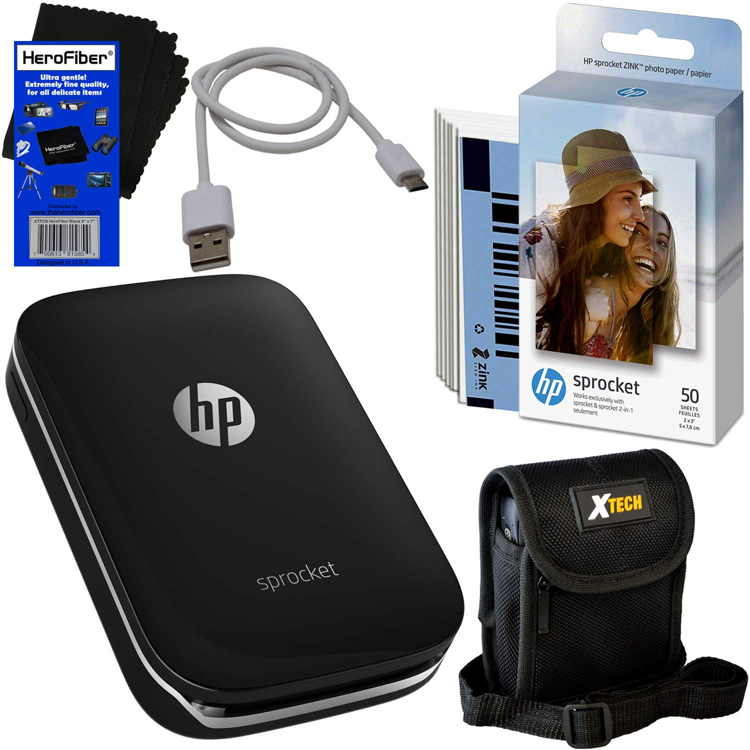 HP Sprocket Photo Printer, Print Social Media Photos on 2x3 Sticky-Backed Paper (Black) + Photo Paper (60 Sheets) + Protective Case + USB Cable + HeroFiber Gentle Cleaning Cloth by HeroFiber