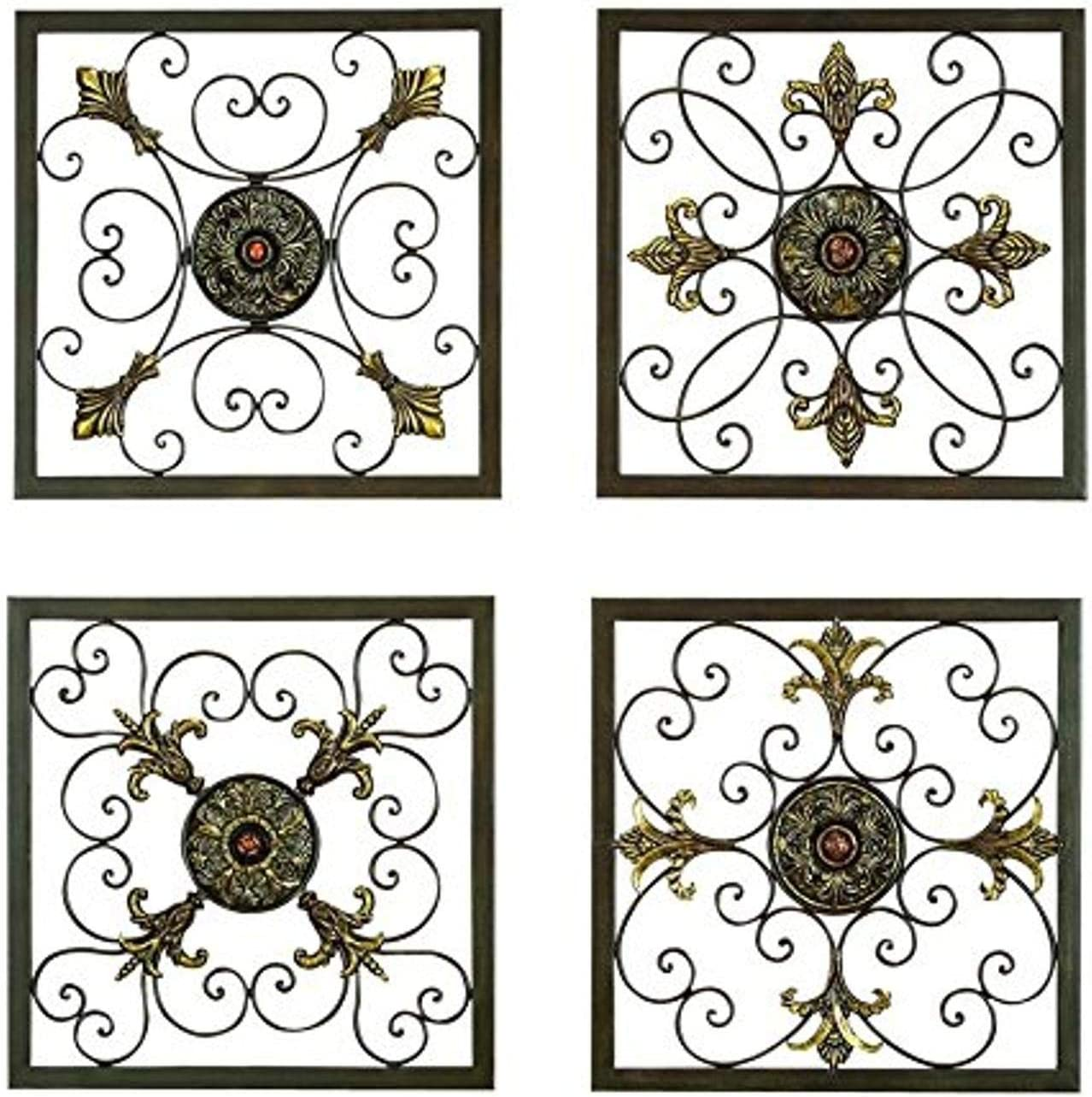 "Aspire Deco 79 Rustic Metal Framed Scrollwork and Medallion Wall Plaques, 16"", 16"", 16"" and 16"" H, Antique Bronze"