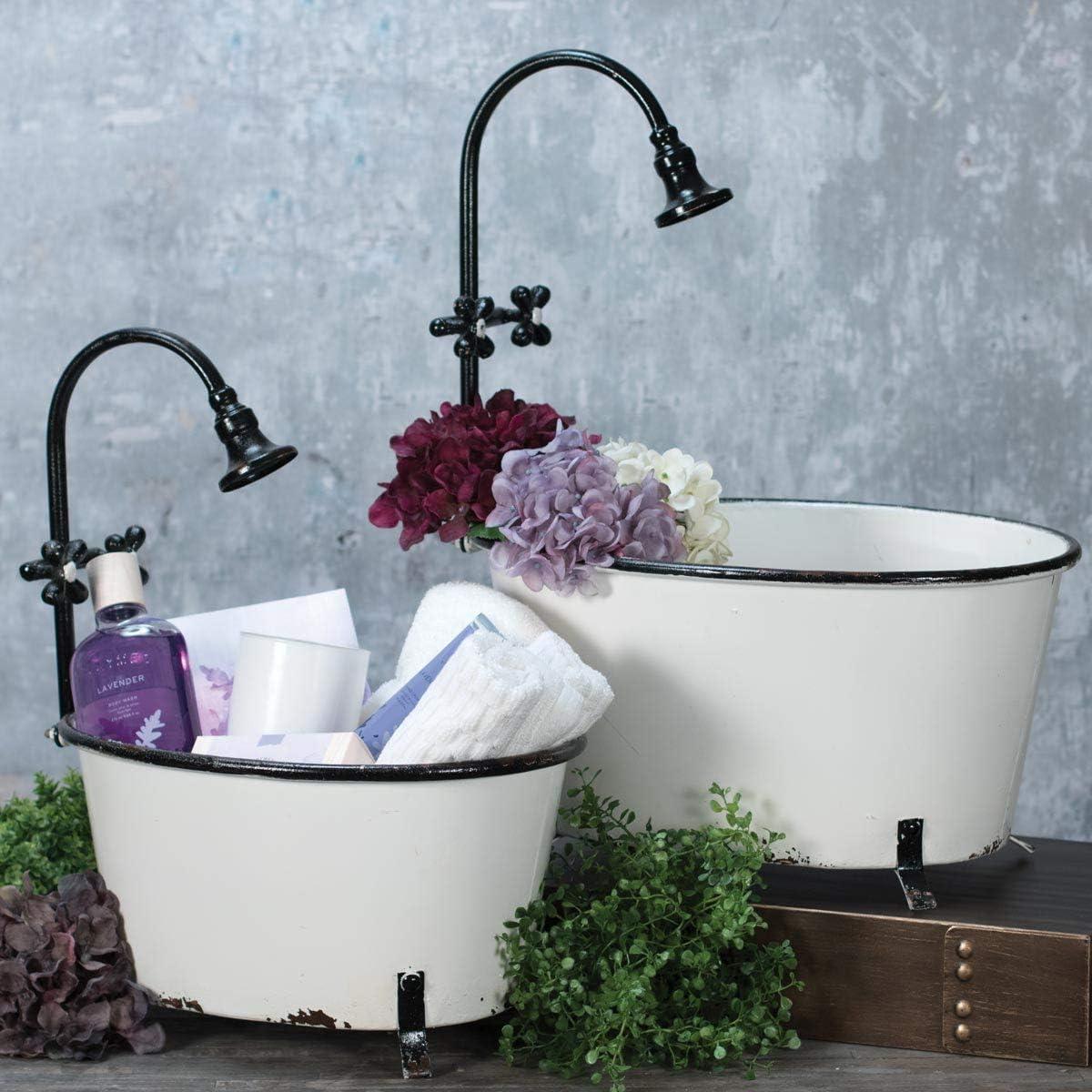 Foreside Distressed Black Rim White Enamel Bathtub Planters, 2 Piece
