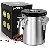 HOKEKI Airtight Coffee Canister, Stainless Steel Container for The Kitchen, Coffee Ground Vault Jar with One Way Co2 Valve and Scoop, Tea Coffee Sugar, Extra Coffee Spoon, 16 oz (Stainless Steel)