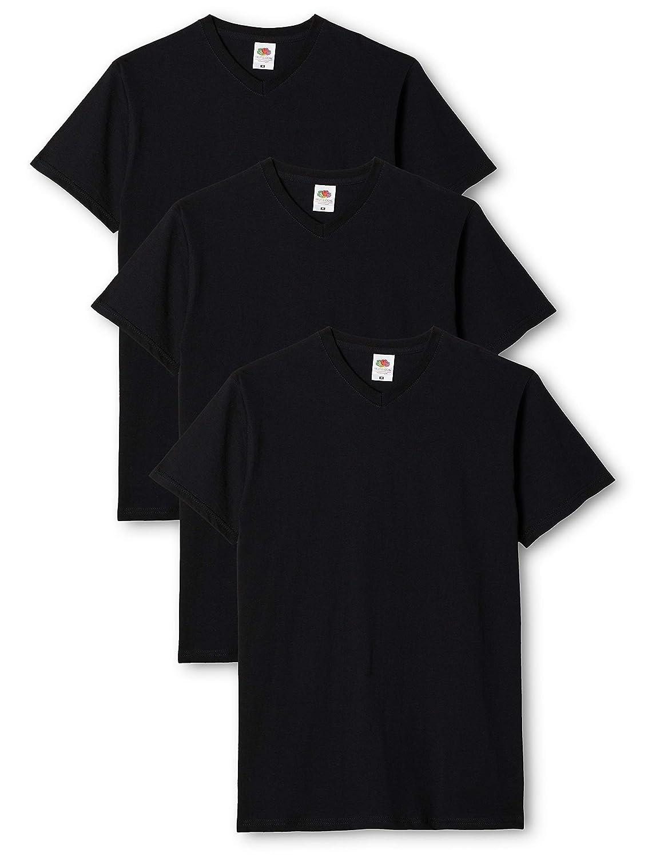 TALLA L. Fruit of the Loom - Camiseta de manga corta con cuello V, para hombre, pack de 3