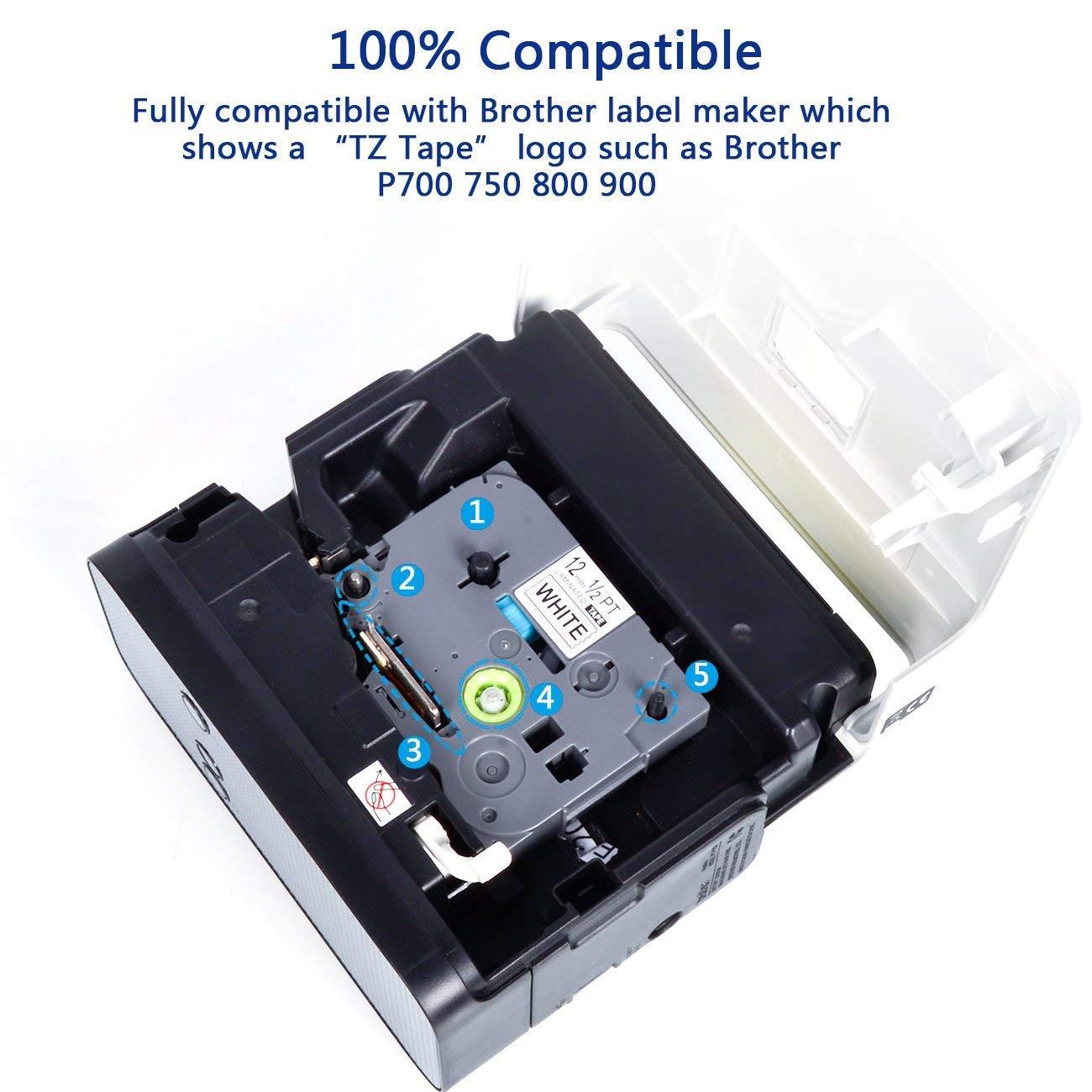 Kompatibel zu Brother P-Touch 1000 1010 E105 E109 2x Schriftband f/ür Brother TZE-231 12mm Schwarz auf Wei/ß