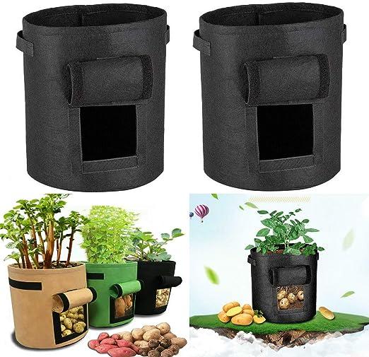 ForeWan macetas para Plantas, 3 Bolsas de Cultivo de Patatas de 18 litros, macetas Inteligentes de Tela con asa para jardín, Negro: Amazon.es: Jardín