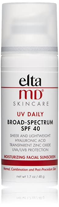 EltaMD UV Daily Facial Sunscreen Broad-Spectrum SPF 40 for Dry Skin, Dermatologist-Recommended Mineral-Based Zinc Oxide Formula, 1. 7 oz