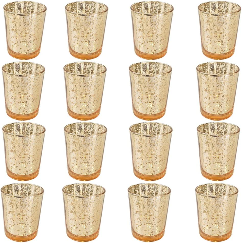 OUYAWEI Home Glass Crystal-Like Glass Candle Holder Romantic Candlestick Tealight Candle Cup Home Wedding Party Decoration Gold 12pcs