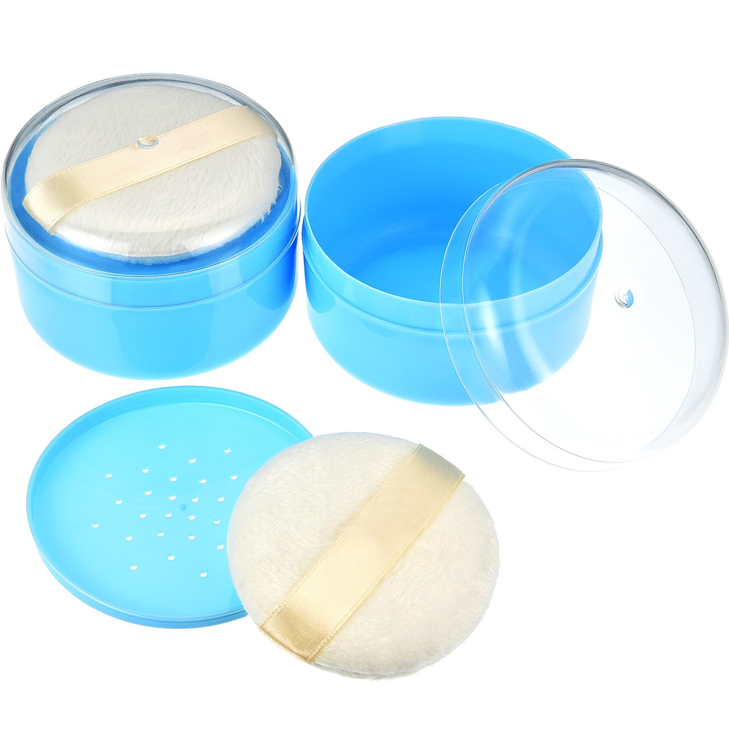 Gejoy 2 Sets After-Bath Powder Puff Box Empty Body Powder Container with Bath Powder Puffs and Sifter for Home and Travel