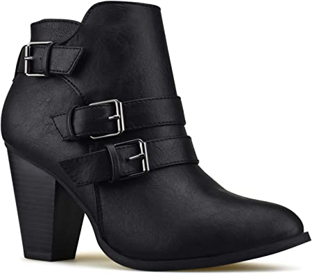 Womens Time and Tru Low Strap Bootie Size 8 Black Ankle Boots NEW