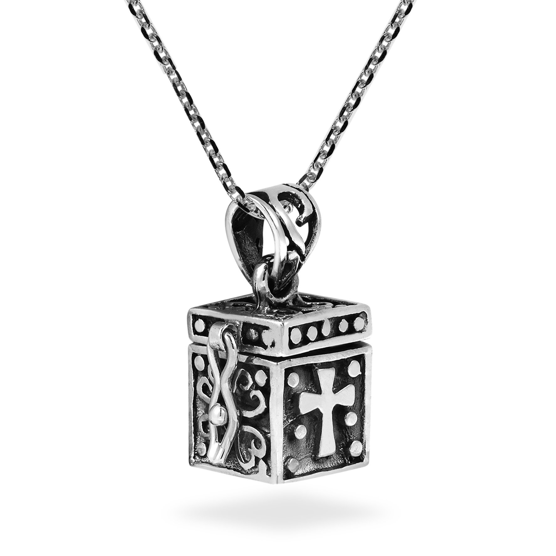AeraVida Christian Prayer Box Locket .925 Sterling Silver Pendant Necklace