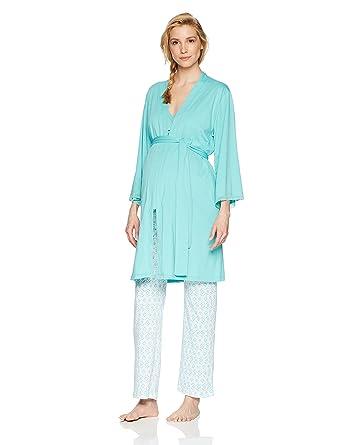 833cfb02b Belabumbum Women's Luxe Cotton Maternity & Nursing Cami Pant Pj + Robe 3pc  Set at Amazon Women's Clothing store: