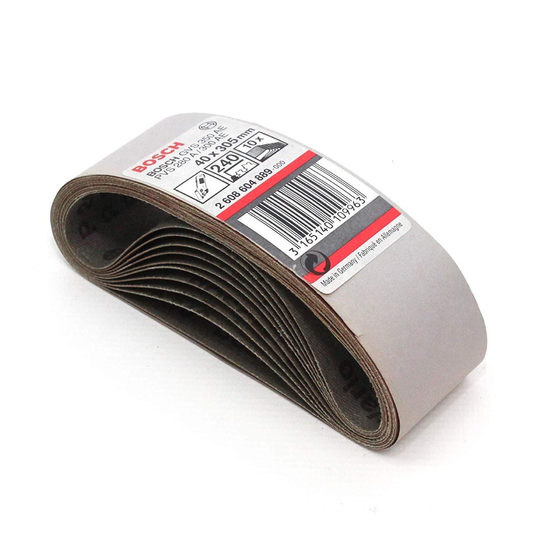 10 Bosch 40mm x 305mm 240G Panno Abrasivo Levigatura Belts Made in Germania 2608604889