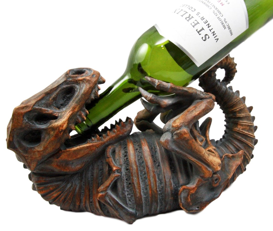 Atlantic Collectibles Prehistoric Dinosaur T-Rex Skeleton Rusted Fossil 11.5'' Long Wine Bottle Holder Caddy Figurine by Ebros Gift