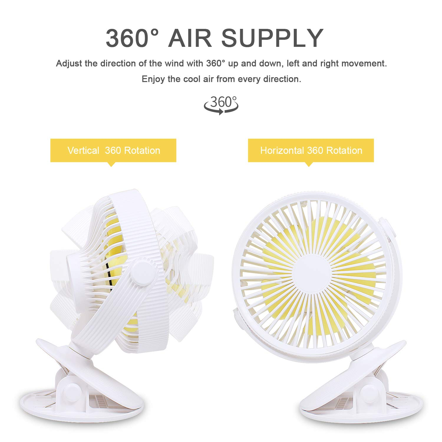COSSCCI Small Desk Fan with Clip, Mini USB Personal Oscillating Fan Portable Electronic Battery Operated Cooling Fan for Stroller Outdoor Home Office Bedroom(White)