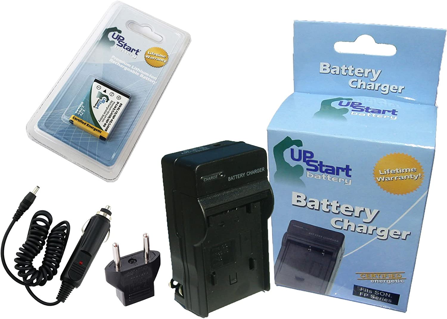Compatible with Olympus LI-40B LI-42B Digital Camera Batteries and Chargers Replacement for Olympus VH-210 Battery and Charger with Car Plug and EU Adapter 800mAh 3.7V Lithium-Ion